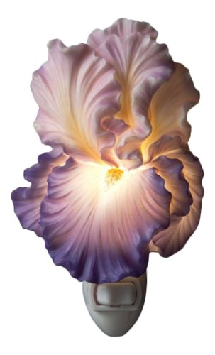 Ceramic Night Light - Ibis & Orchid Purple Bearded Iris Night Light #
