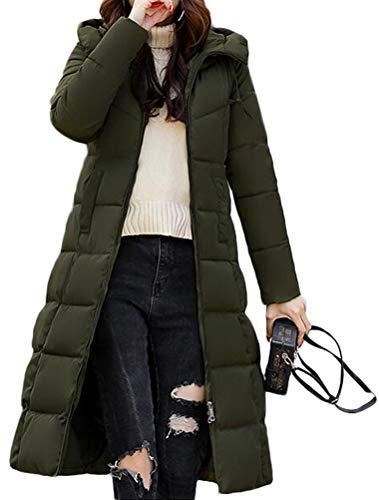 Donna Verde Con Cappuccio inverno Giacca Parka Cappotto Piumino Lunga Giacche Autunno Mallimoda Esercito pFqwHAf