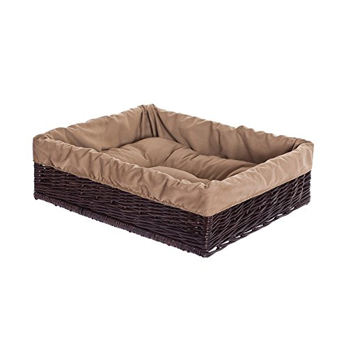 Dark Brown Electric WICKER24 Woven Willow Wicker Pet Basket – 60 x 50 x 18 cm, basket, dark brown, 60 x 50 x 18 cm