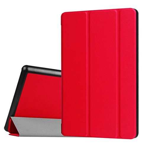 Price comparison product image For Amazon Kindle Fire HD 8 Inch Tablet ,Saingace Portable Carry Protective Flip Leather Case Cover Holder (Red)