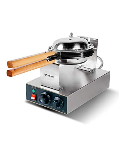 WantJoin Electric Kitchen egg bubble Waffle Maker Professional Rotated Nonstick 110V US Plug (Stainless Steel)