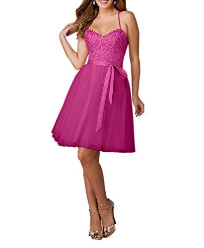 Spitze Charmant Rock Pink Kurz Promkleider Ballkleider Festlichkleider Linie Knielang Rosa Abendkleider A Damen Traegerkleider xxU1q6F