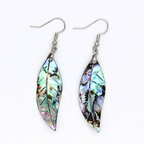 Ravewan Shop Natural Abalone Shell Silver Plated Dangle Hook Tree Leaf Shape Women's Earrings