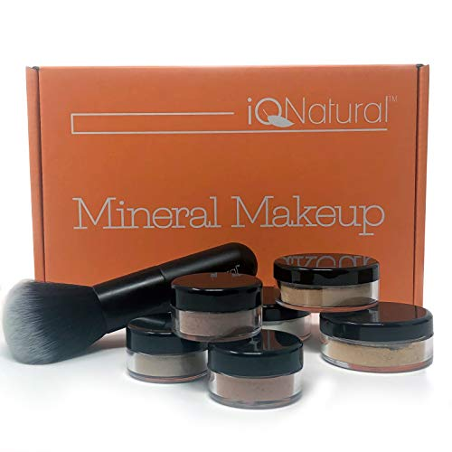 IQ Natural's Large Mineral Makeup Kit | Concealer, Bronzer, Eye Shadow, Setting Powder, 2 Full Size Mineral Foundation | Create A Natural Flawless Look – 8pc Shade[DARK MEDIUM]