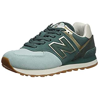 New Balance Women's 574 V2 Metallic Patch Sneaker, White Agave/Light Gold, 5 M US