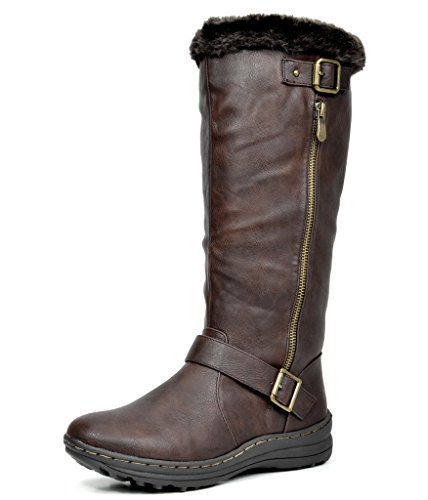 DREAM PAIRS Rabbit Women's Lady Winter Fully Fur Lined Double Buckle Ruched Snow Knee High Boots Brown PU-SZ-12W