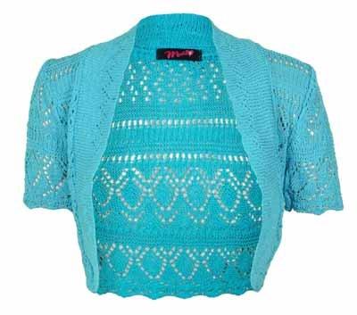 a a da motivo donna da uncinetto corte Top lavorato maglia maniche Nuovo Bolero donna Turquoise coprispalle pH1UwqSW