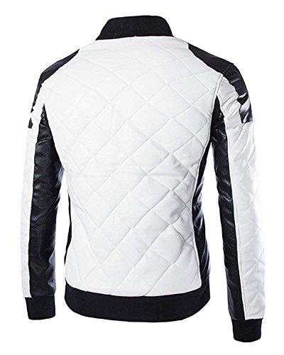 Uomo Pelle In Giacca Bomber Di Da Sintetica Inverno Bianca Per Lunga Manica Moto Biker Cappotto Autunno gxRwaqw5