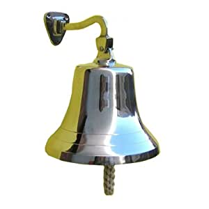 """Large Solid Brass Wall Mounted Bell, Chrome Plated - 6"""""""