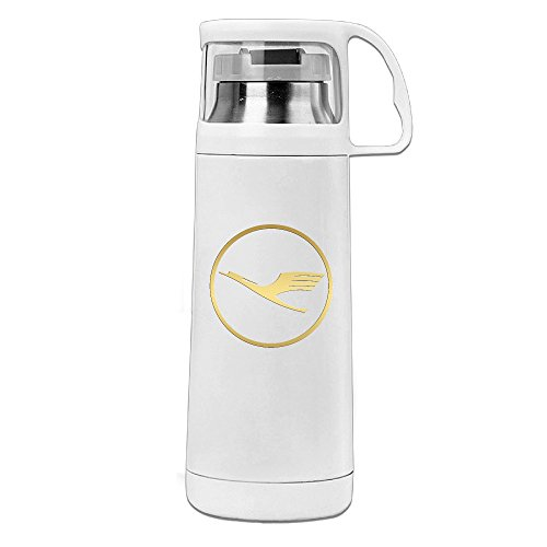 Price comparison product image Golden Lufthansa Vacuum Insulated Stainless Steel Coffee / Water Bottle - Tea Travel Thermos Travel Mug (11.8OZ,  White)