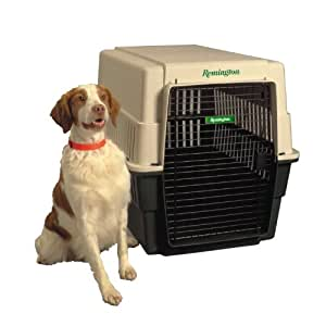 Remington Plastic Kennel, Large, 36-Inch L  by 26-Inch W by 28-Inch H, Beige/Green