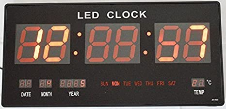 Grande LED rojo reloj de pared reloj digital de temperatura FECHA Hora: Amazon.es: Hogar