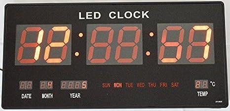 Grande LED rojo reloj de pared reloj digital de temperatura FECHA Hora: Amazon.es: Hogar