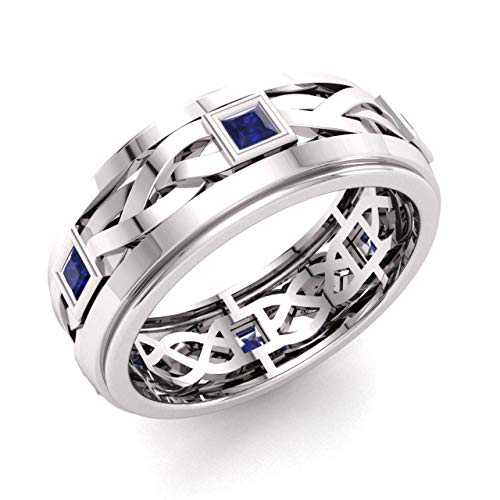 Diamondere Natural and Certified Princess Cut Blue Sapphire Wedding Band Ring in 14k White Gold   0.60 Carat Celtic Knot Ring for Mens, US Size 11
