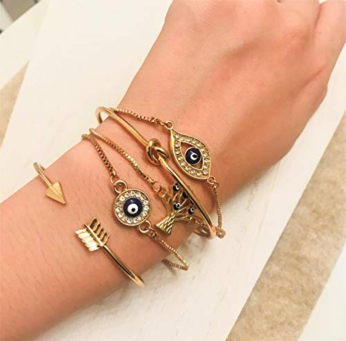ISAACSONG.DESIGN Bohemian Evil Eye Love Knot Charm Adjustable Bolo Chain Link and Bangle Cuff Bracelet Set for Women and Girls (5 Pcs Evil Eye Set) by ISAACSONG.DESIGN (Image #3)