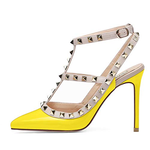 Chris-T Women Pointed Toe Studded Strappy Slingback High Heel 4 Inches Leather Pumps Stilettos Sandals Yellow Patent Size 9 ()