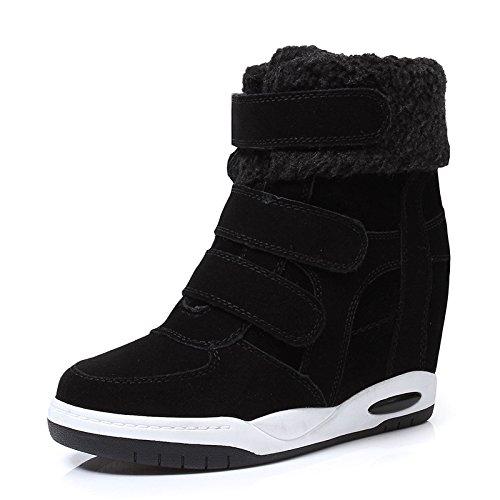 NSXZ botas de cuero mate aumento de la pendiente femenina con botas de fondo grueso, más zapatos con velcro dentro de terciopelo de Corea MM&GG