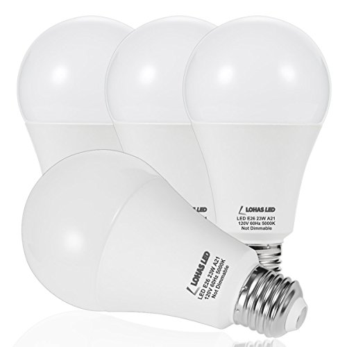 LOHAS A21 LED Light Bulb, 150W-200W Incandescent Bulb Equivalent, 23W LED Bulb, 2500 Lumens, Daylight White 5000K, E26 Medium Screw Base, LED Lamp, Home Decor lights, Not-Dimmable, (Pack of 4) (Base Bulb Medium A21 150w)