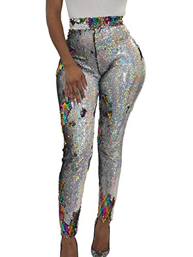 Allumk Ladies Sequins Shiny Leggings High Waist Back Zipper Skinny Pants Reversible Trousers XXL -