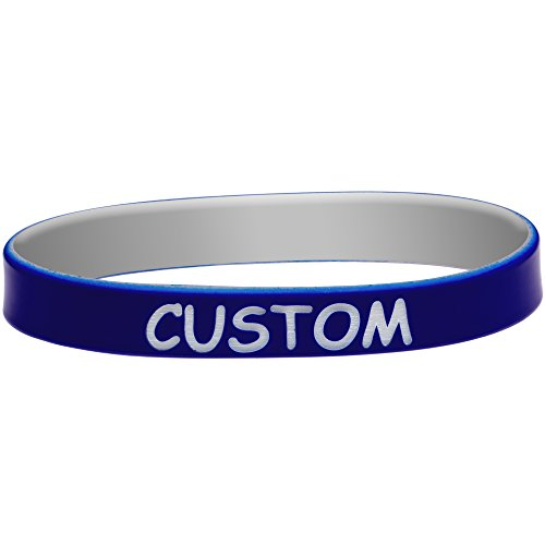 Body Candy Customizable Blue Gray Silicone Stretch Personalized Message Bracelet