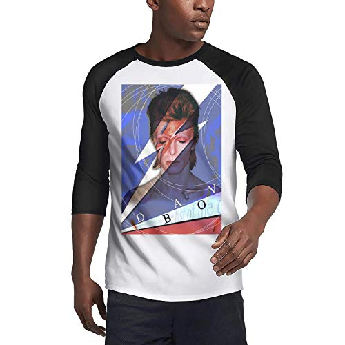 Young Men Casual David-Bowie-Wallpaper- O-Neck Baseball 3/4 Sleeve Raglan Henley T-Shirts Tee -