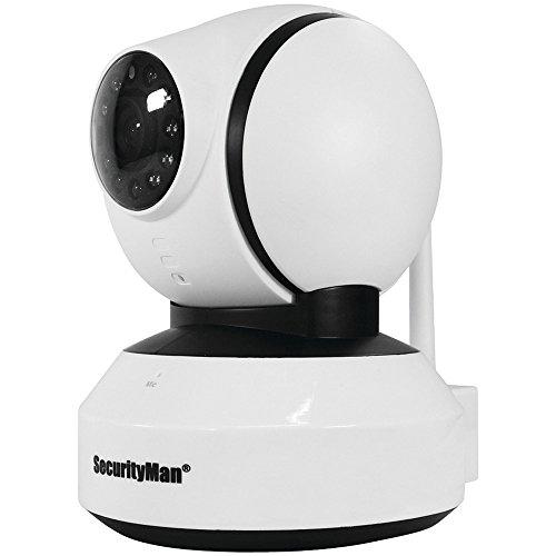 Securityman IWATCHALARMD App Based Pan-Tilt iSecurity WiFi Indoor Camera, White (SM-821DTH)