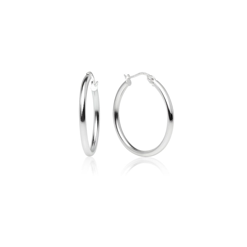 LOVVE Sterling Silver High Polished Round-Tube Click-Top Hoop Earrings, 2x25mm