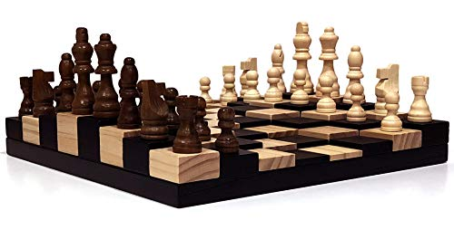 - AMBRIZZOLA Scala Wooden Chess Gift Set (3D Chessboard with 3