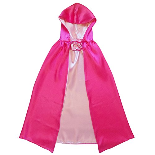 So Sydney Superhero or Princess Reversible Hooded Cape Adult Teen Halloween Costume Cloak (M (42 inches), Hot Pink & Light (Hot Fairy Teen Costumes)