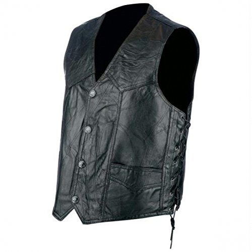 - Rocky Ranch Hides Rock Design Genuine Hog Leather Biker Vest,Black,2X