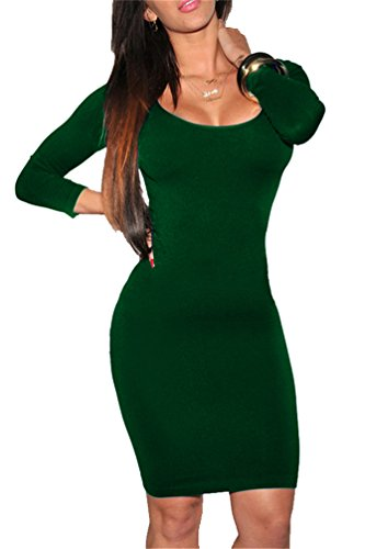 Womens Classic Scoop Neck 3/4 Sleeve Slim Fit Bodycon Dress XL Dark (Dos Equis Costume)