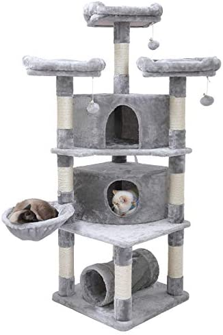 Hey-brother 65 Extra Large Multi-Level Cat Tree Condo Furniture with Sisal-Covered Scratching Posts, 2 Bigger Plush Condos, Perch Hammock for Kittens, Cats and Pets
