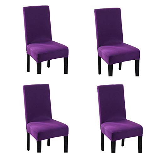 Pinji 4PCS Spandex Stretch Chair Cover Dining Room Home Decor Removable Washable Slipcover Protector Purple ()