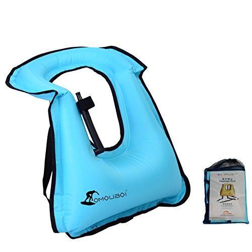 Kingswell Children Inflatable Snorkel Vest Portable Swim Vest Life Jacket Safety Snorkeling Swimming Bright Coloured Buoyancy Vest for Boys & Girls