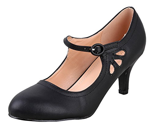 Chase & Chloe Kimmy-21 Women's Round Toe Pierced Mid Heel Mary Jane Style Dress Pumps (10 M US, Black Pu Low) ()