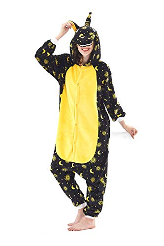 Adult Pajamas Unisex Sleepsuit Animal Sleepwear Jumpsuit Halloween Cosplay Costume (S (Height 151-160 cm), Black B) ()