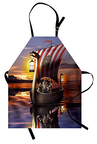 Ambesonne Viking Apron, A Warrior in a Ship Twilight Barbarian Nordic Scandinavian Culture Artwork Print, Unisex Kitchen Bib Apron with Adjustable Neck for Cooking Baking Gardening, (Female Barbarian Costume Ideas)