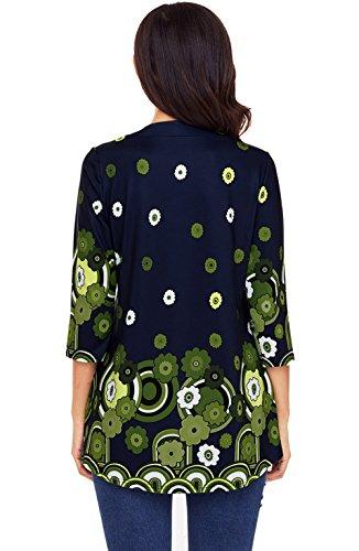 Femmes Tees et Mi Col 4 Tops Printemps Hauts Fashion Imprime Tunique Vert Automne Shirts Blouse Longue Shirts Chemisiers Casual Manches 3 Rond T FEqwSwUx
