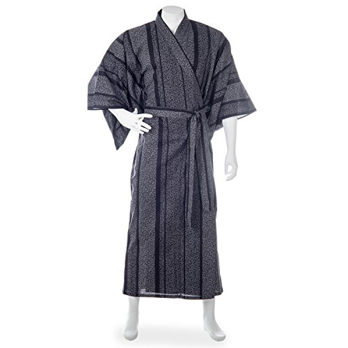 Mens Black Karakusa Japanese Cotton Kimono (Kimono Cotton Japanese)