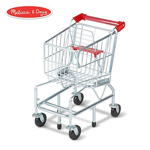 Melissa & Doug Toy Shopping Cart with Sturdy Metal Frame, Play Sets & Kitchens, Heavy-Gauge Steel Construction, 23.25