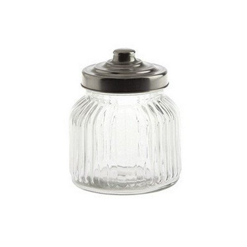 La Porcellana Bianca Tuscania Ribbed Glass Container, 4.25