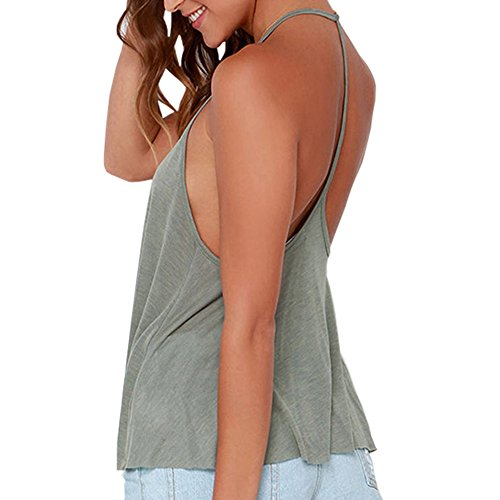 Faithtur Womens Casual Crewneck Halter Sleeveless Tee Shirt Backless Tank Top Vest Shirt (Large, Light Green) ()