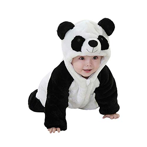 Birdfly Unisex Baby Cute Flannel Romper Zip Up Hoodie Jumpsuit Toddler Animal Costume Winter Cozy Outfits (4T, Panda) -
