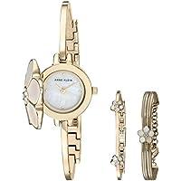 Anne Klein Swarovski Crystal Women's Bangle Watch & Bracelet Set (Gold Tone)