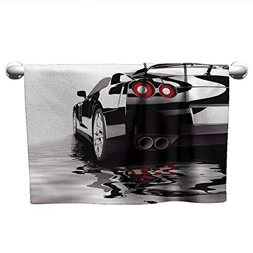 alisoso Cars,Hand Towel Modern Black Car with Water Reflection Prestige Fast Engine Performance Lifestyle Washcloths Black Red White W 20
