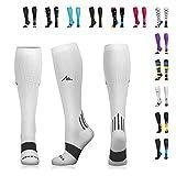 NEWZILL Compression Socks (20-30mmHg) for Men & Women - Best Stockings for Running, Medical, Athletic, Edema, Diabetic, Varicose Veins, Travel, Pregnancy, Shin Splints. White - Large (1 Pair)