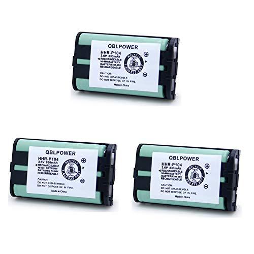 QBLPOWER 3.6V 830mAh Ni-MH HHR-P104 HHRP104 HHR-P104A Type 29 Cordless Phone Battery Replacement Compatible with Panasonic KX-TGA520M KX-FG6550 KX-FPG391 KX-TG2388B KX-TG2396 KX-TG2300 (3 Pack) ()
