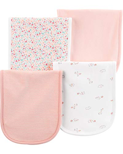 (Carter's Baby Boys 4 Pack Cotton Burp Cloths (Pink Giraffe))