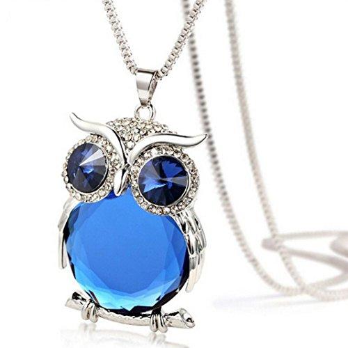 Fheaven Women Owl Pendant Diamond Sweater Chain Long Necklace Jewelry (Blue)