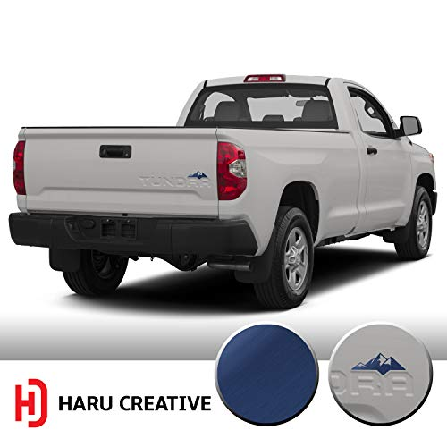 - Haru Creative - Custom Mountain Overlay Vinyl Decal Sticker Compatible with and Fits Toyota Tundra Trunk Tailgate 2014 2015 2016 2017 2018 2019 - Metallic Brushed Aluminum Blue